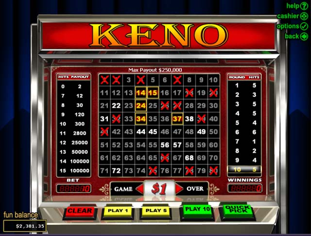 Play super double up keno online